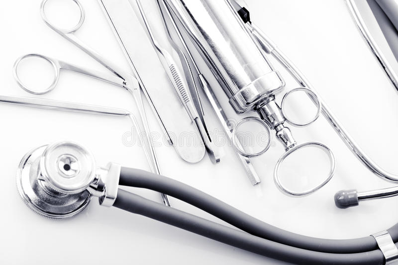 ENT tools. Medical instruments for ENT doctor on white royalty free stock photography