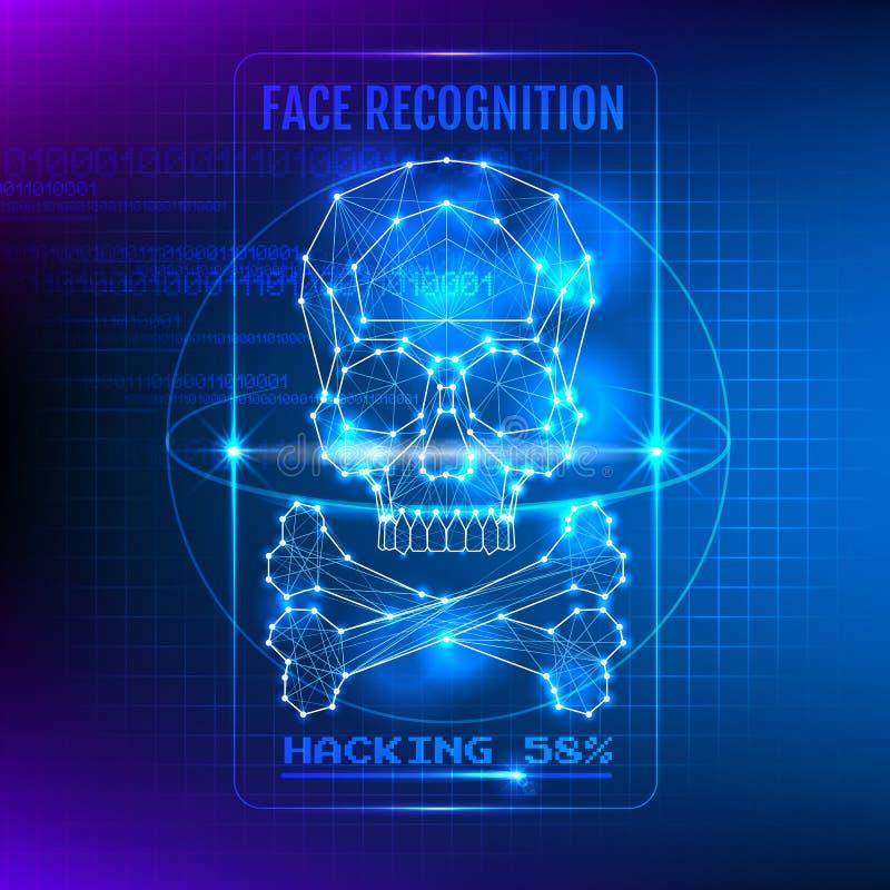 Entailler l'illustration de vecteur de système de reconnaissance des visages illustration stock