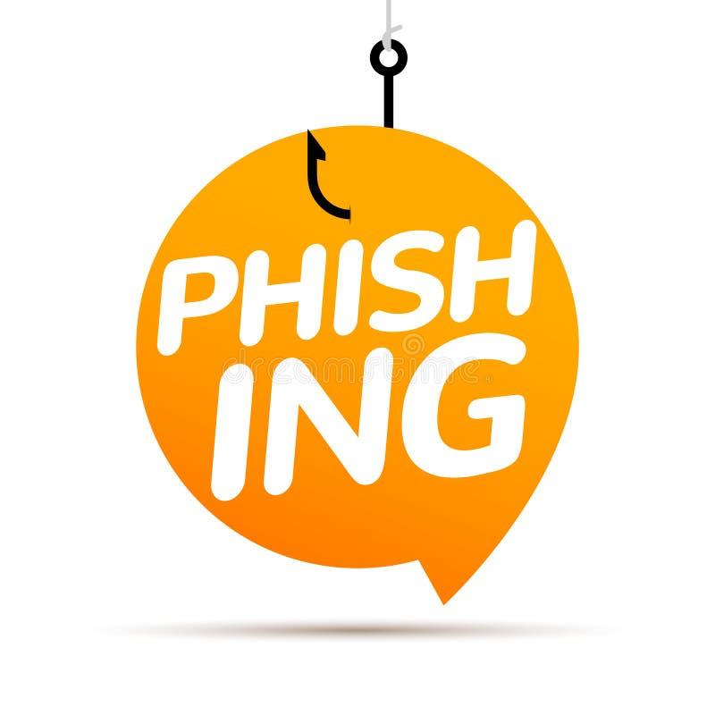 Entailler phishing de donn?es en ligne Concept de bulle de Scam Donn?es d'ordinateur p?chant le crime d'entaille illustration stock