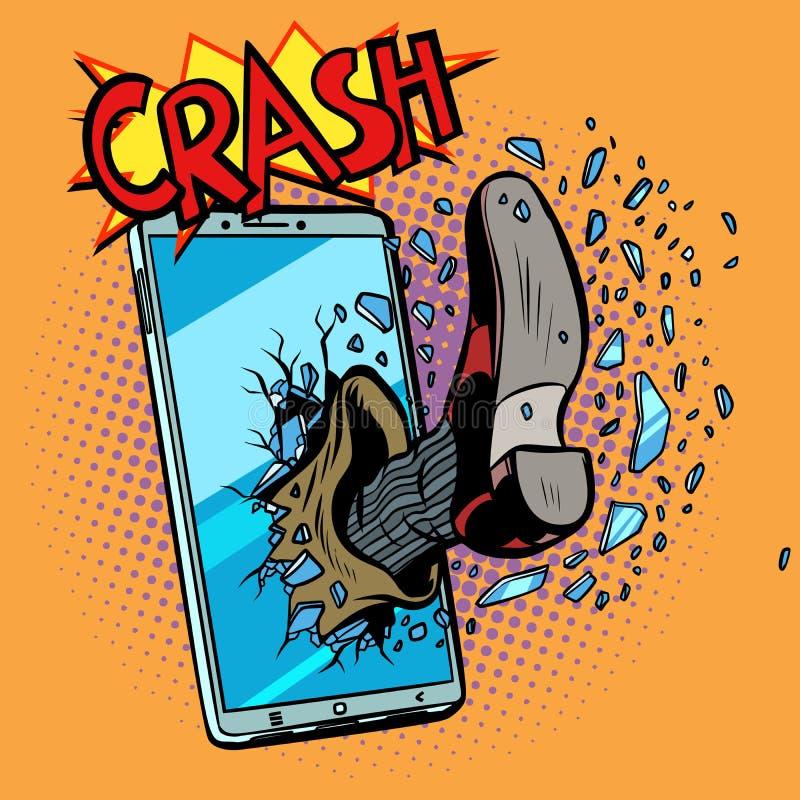 Entailler un dispositif de téléphone portable illustration libre de droits