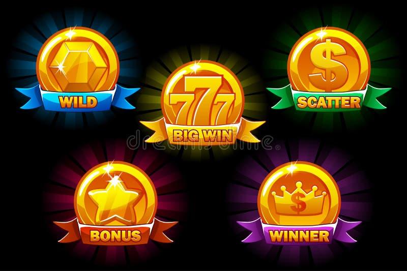 Entalha ícones, coleções douradas selvagens, bônus, dispersam-nos e símbolos do vencedor Para o jogo, interface de usuário, aplic ilustração royalty free