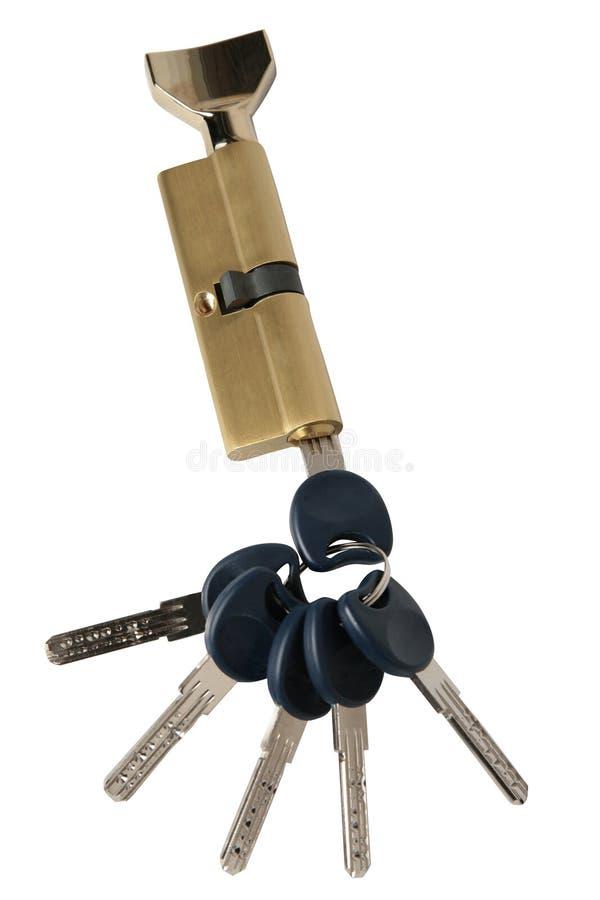 Entalhar um encaixe no fechamento com chaves isolado no fundo branco foto de stock royalty free