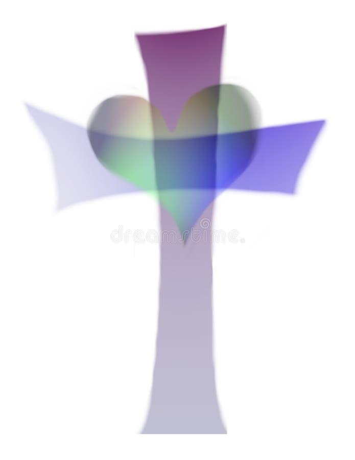 Entalhe da cruz e do coração ilustração royalty free