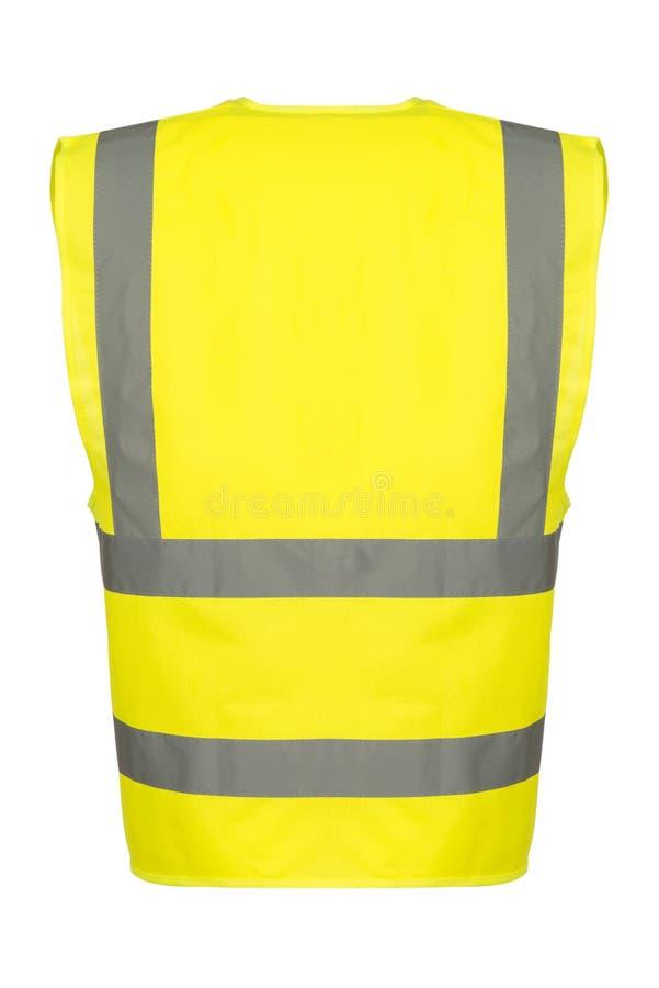 Entalhe da parte traseira da veste amarela da segurança fotografia de stock