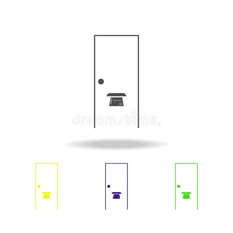 entalhe da porta nos ícones coloridos da porta Sinais e ícone para Web site, design web da coleção dos símbolos, app móvel no bra ilustração royalty free
