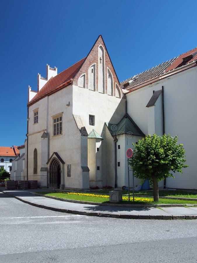Entance a la iglesia de San Jaime en Levoca foto de archivo