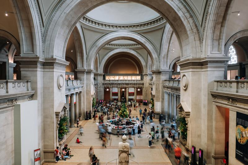 Entance of Metropolitan Museum of Art in New York City is a NYC landmark which and is the largest art museum in the United States. New York NY - USA - Jul 30 stock images