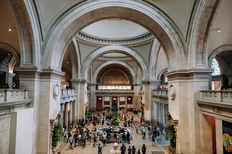 Entance of Metropolitan Museum of Art in New York City is a NYC landmark which and is the largest art museum in the United States. New York NY - USA - Jul 30 royalty free stock photography