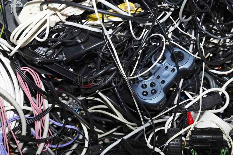 Entangled heap of electronic scrap stock photography