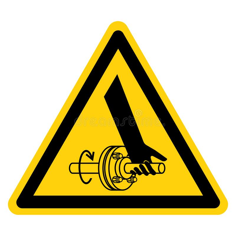 Entanglement Of Hand Rotating Shaft Symbol Sign Isolate On White Background,Vector Illustration. Above, accident, area, belt, blade, chain, cog, cogwheel stock illustration