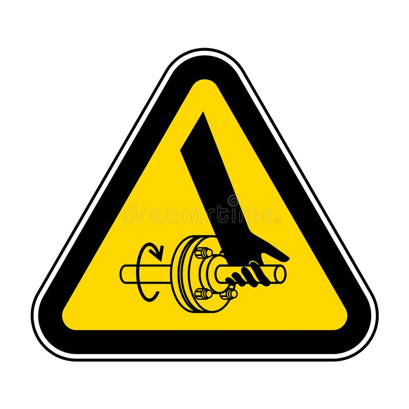 Entanglement Of Hand Rotating Shaft Symbol Sign Isolate On White Background,Vector Illustration EPS.10. Above, accident, area, belt, blade, chain, cog stock illustration
