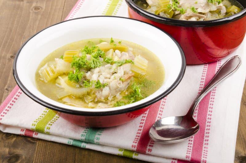 Entassez une soupe à leekie avec les poireaux et le céleri photos libres de droits