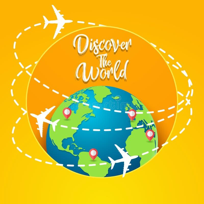 Entdecken Sie das Weltkonzept mit auf der ganzen Welt fliegen vektor abbildung