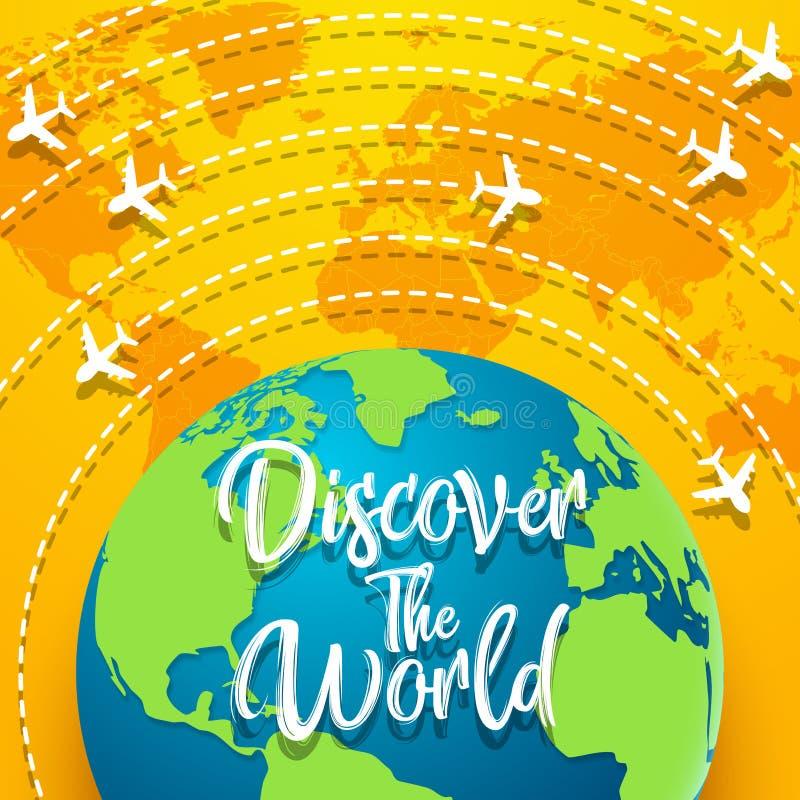 Entdecken Sie das Weltkonzept mit auf der ganzen Welt fliegen stock abbildung