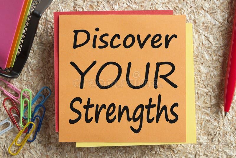 Entdecken Sie Ihre Stärken, die auf Anmerkungskonzept geschrieben werden stockbilder