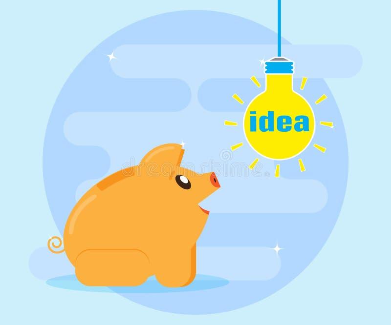 Entdeckung, erfinden, erzeugen gute Finanzidee für Gewinn und Reichtum Flache Art, Vektor lizenzfreie abbildung