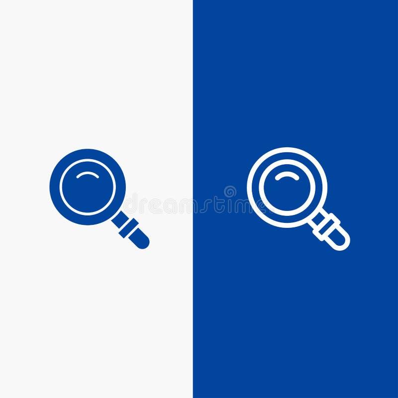 Entdeckung, Suche, Ansicht, blaue Fahne der blauen Fahne der Glasikone der linie und des Glyph festen Ikone Linie und Glyph feste lizenzfreie abbildung
