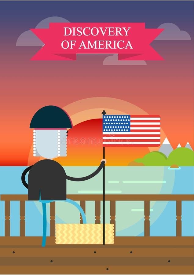 Entdeckung von Amerika durch Christopher Columbus Ein Mann an Bord eines Bootes auf dem Hintergrund eines Sonnenuntergangs schwim lizenzfreie abbildung