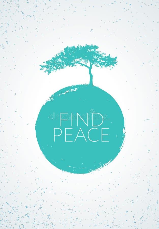 Entdeckungs-Frieden Kreativer Minimalistic Zen Poster Vector Concept Kiefer-Schattenbild mit Schmutz-Kreis-Hintergrund lizenzfreie abbildung