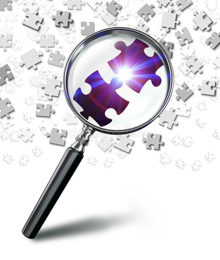 Entdeckungslösungskonzept mit Lupe und Puzzlespiel vektor abbildung