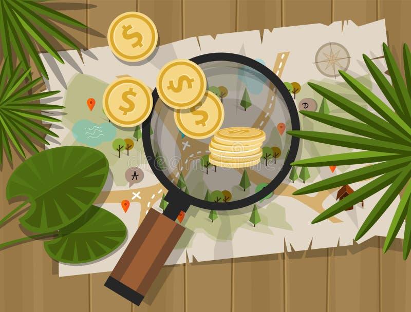 Entdeckungsschatzsuche-Geldkarte lizenzfreie abbildung