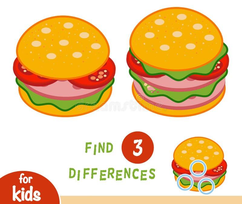 Entdeckungsunterschied-Bildungsspiel, Burger stock abbildung