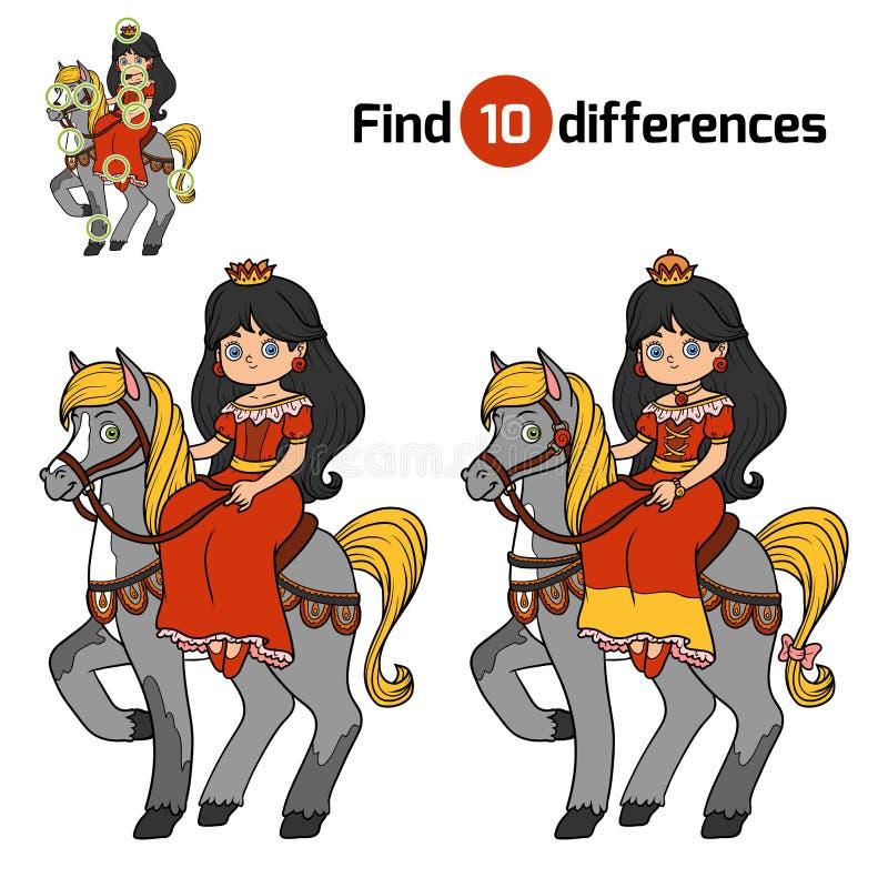 Entdeckungsunterschiede für Kinder, Prinzessin lizenzfreie abbildung