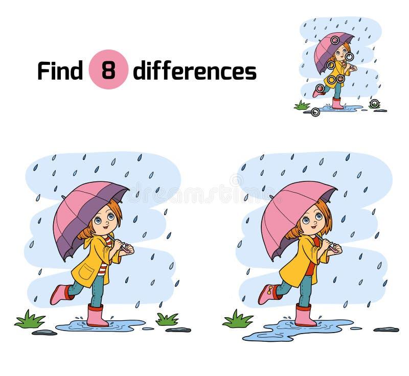 Entdeckungsunterschiede Mädchen, das mit einem Regenschirm im Regen läuft lizenzfreie abbildung