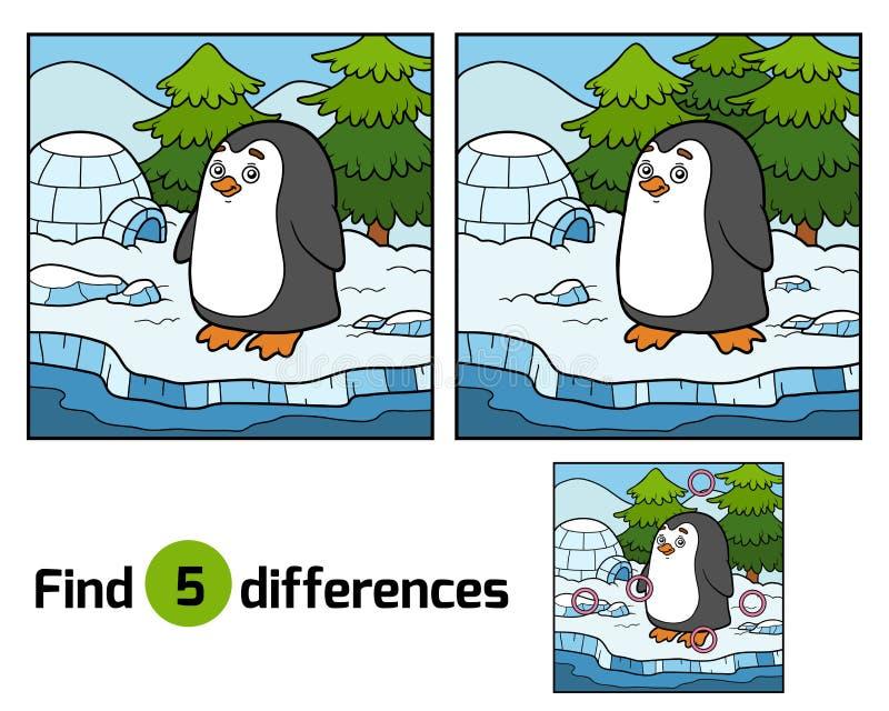 Entdeckungsunterschiede (Pinguin und Hintergrund) stock abbildung