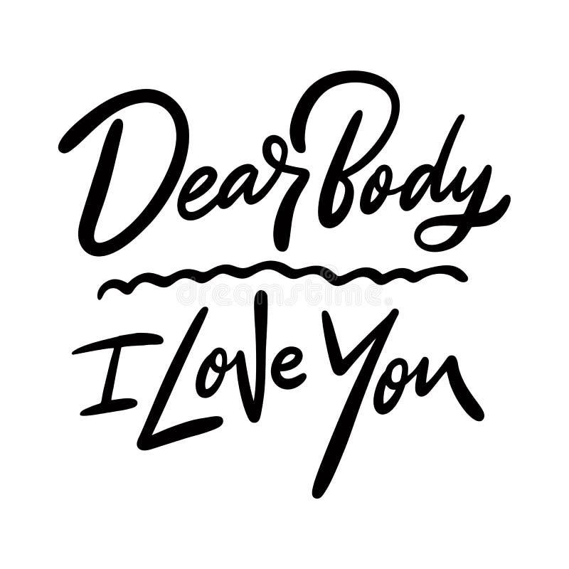 Ente caro, ti amo Iscrizione disegnata a mano in bianco e nero di frase Isolato su priorit? bassa bianca illustrazione di stock