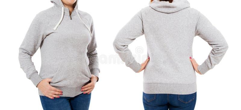 Ente femminile nel modello di maglia con cappuccio: anteriore e posteriore vista immagine stock libera da diritti