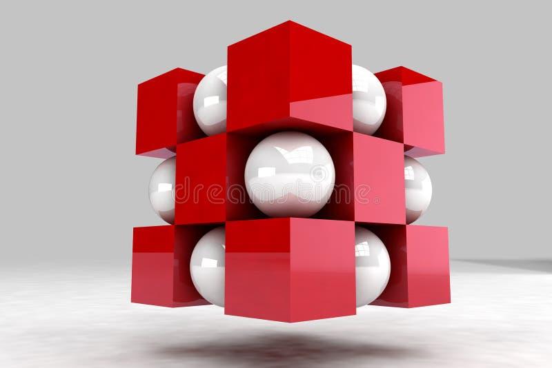Ente geometrico fatto delle palle bianche e dei cubi rossi illustrazione vettoriale