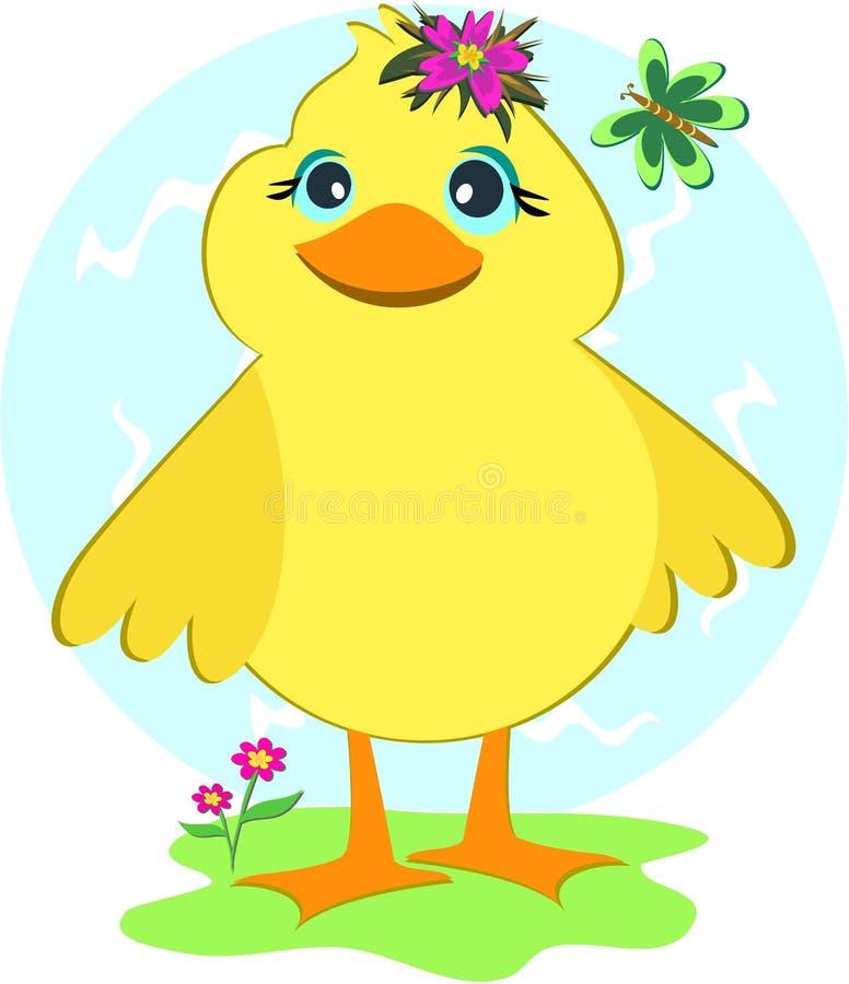Ente mit Basisrecheneinheit und Blumen stock abbildung