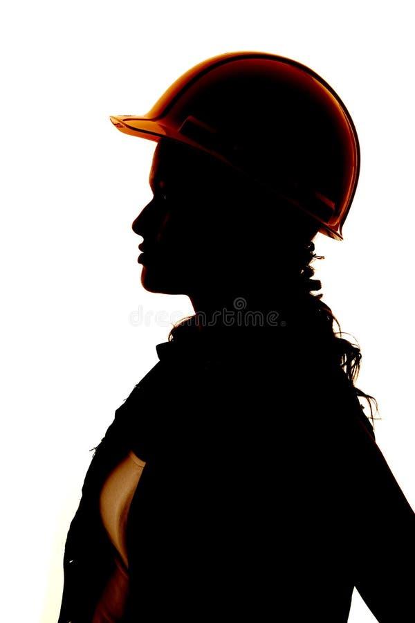 Ente superiore della costruzione della donna della siluetta fotografia stock