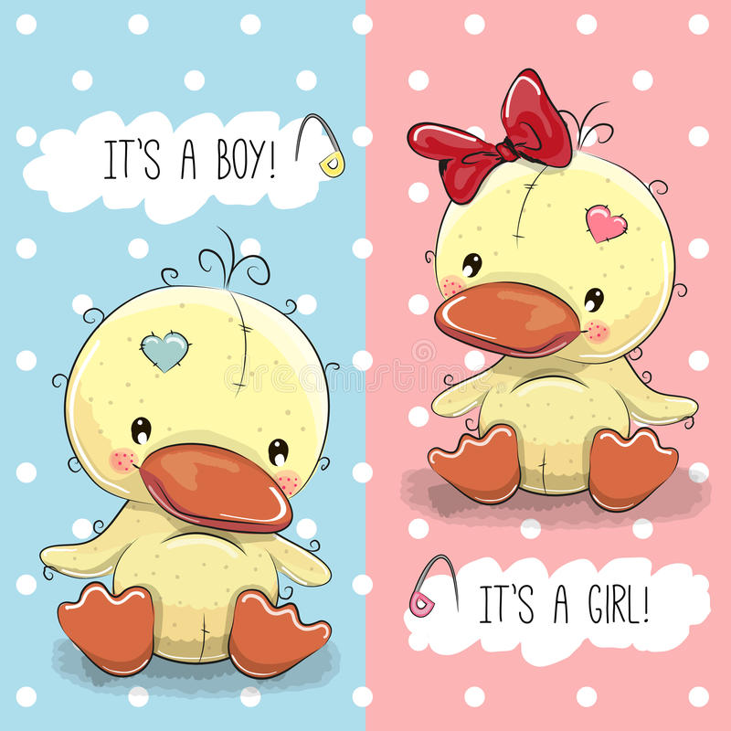 Enten Junge und Mädchen lizenzfreie abbildung