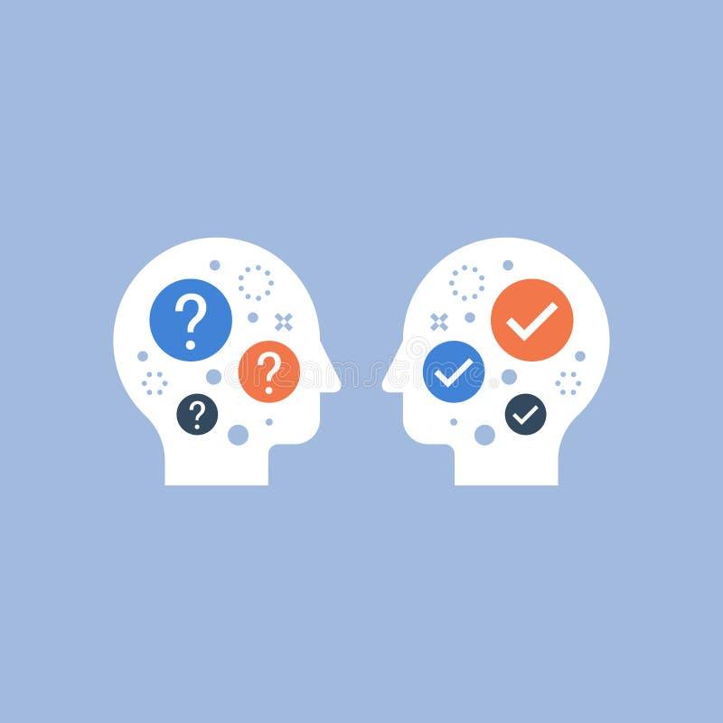 Entendimiento mutuo, terreno común, compromiso de la negociación, concepto del mentor, dirección, servicio de asesoramiento, toma stock de ilustración