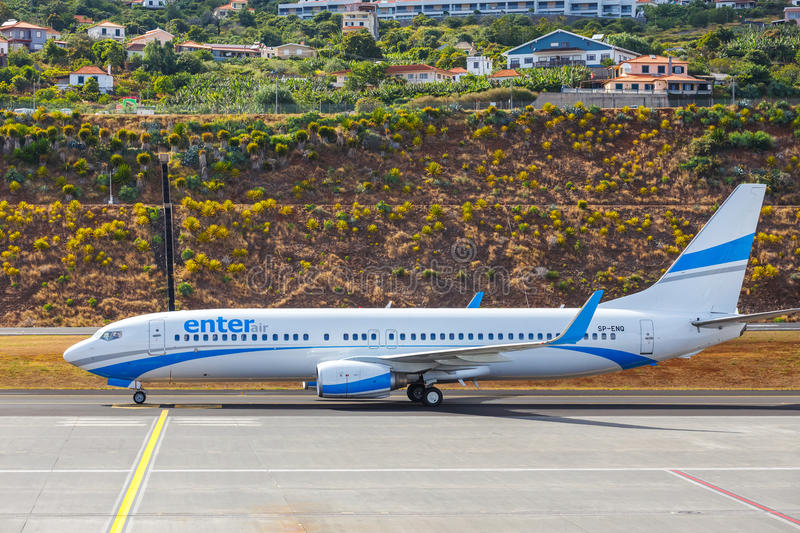 Enter Air Boeing 737 lands at Funchal Cristiano Ronaldo Airport stock photography