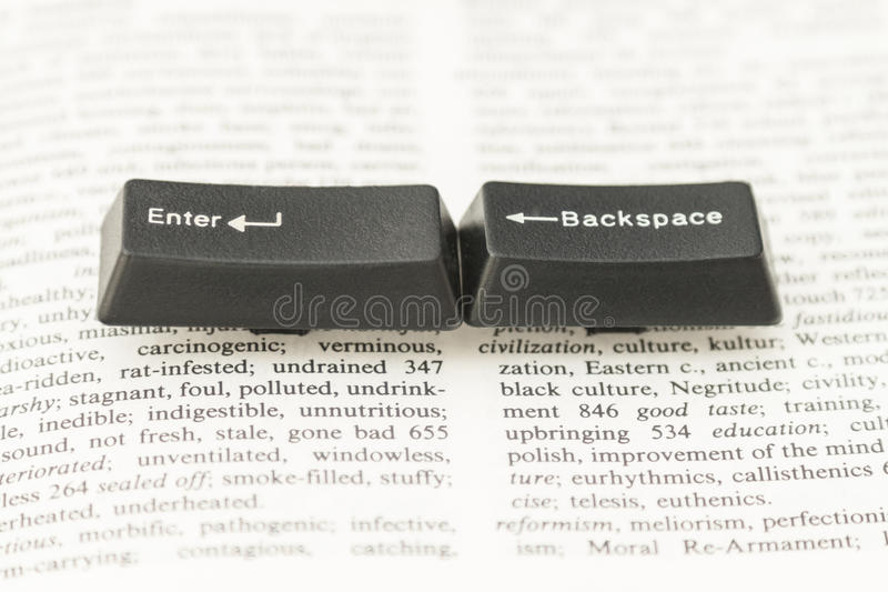 Enter and Backspace Computer Keys on a Book Page royalty free stock photo