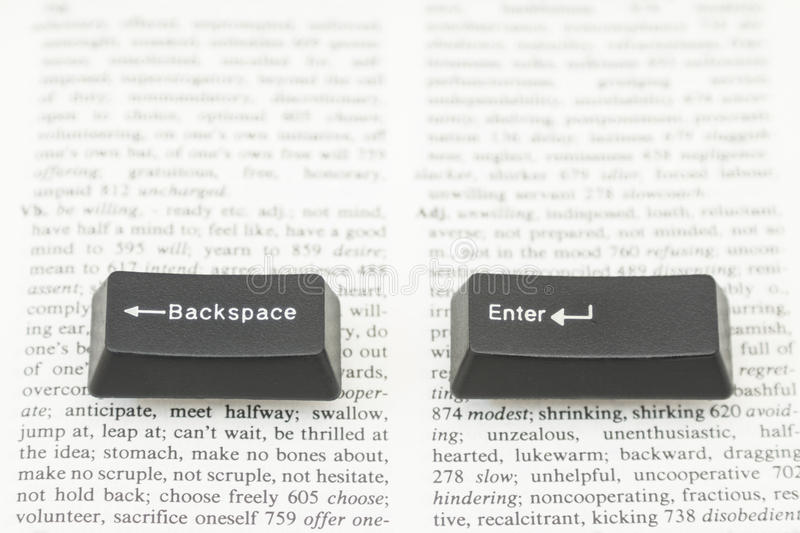Enter and Backspace Computer Keys on a Book Page stock photos
