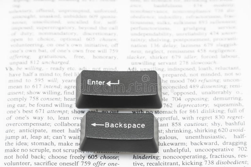 Enter and Backspace Computer Keys on a Book Page royalty free stock photos