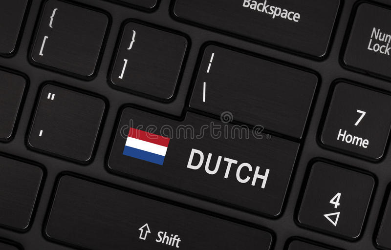Enter button with flag Netherlands - Concept of language. (learning or translate royalty free stock photo