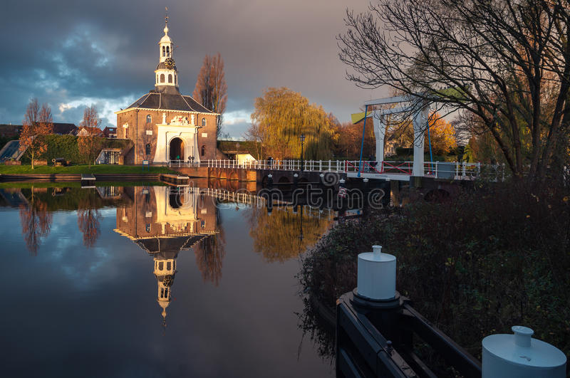 Enter the City. A morning view of the beautiful medeival gate of Leiden, The Netherlands stock photo