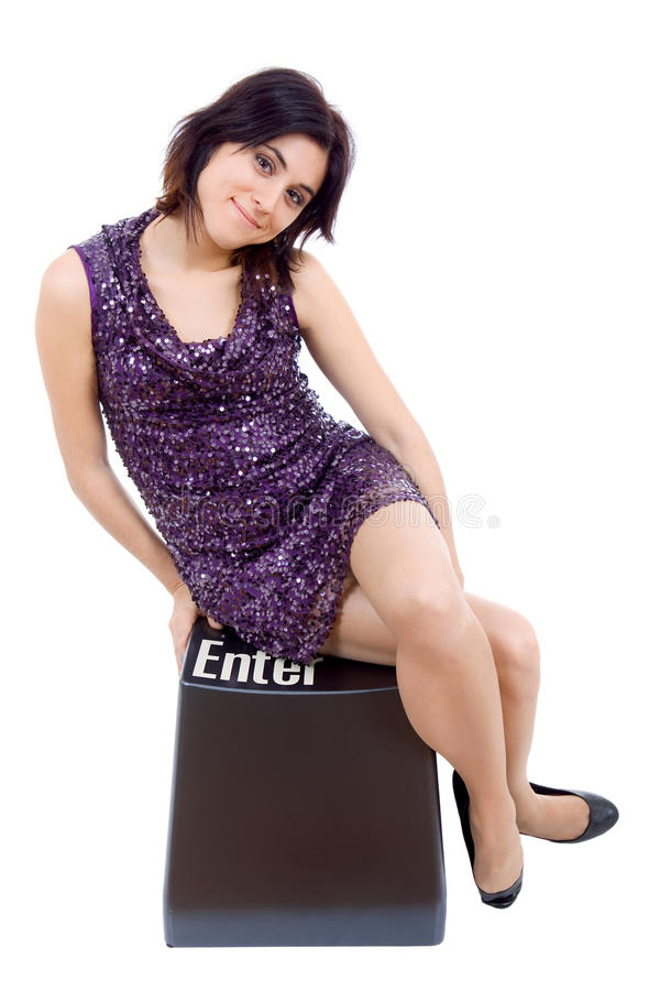 Enter key. Young beautiful woman with the enter key stock images