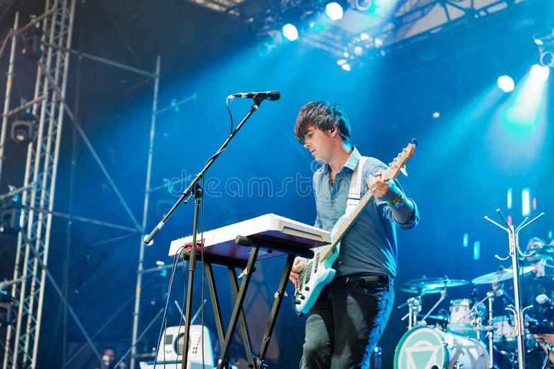 Enter Shikari performs live at Atlas Weekend Festival. Kiev, Ukraine. Enter Shikari, British alternative post hardcore rock band and Chris Batten, bass royalty free stock photos