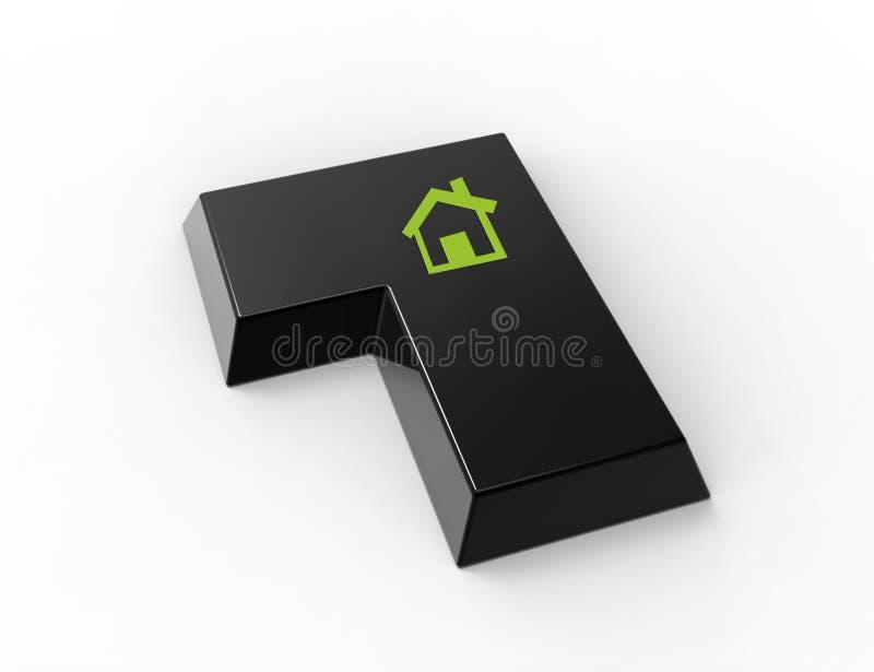 ENTER-Taste mit Haussymbol stock abbildung