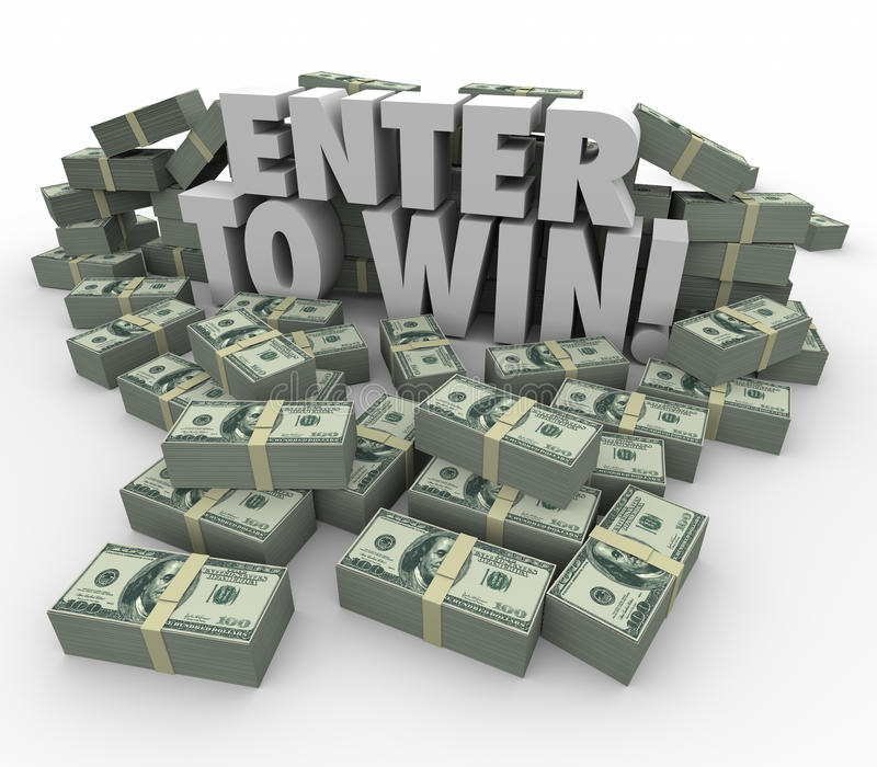 Enter to Win 3d Words Cash Money Stacks Contest Raffle Lottery. Enter to Win words in 3d letters surrounded by money, cash or currency stacks or piles in a royalty free illustration