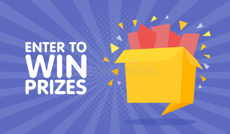 Enter to win prizes gift box. Cartoon origami style illustration.  royalty free illustration