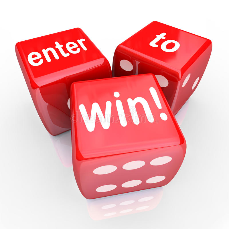 Enter To Win 3 Red Dice Contest Winning Entry vector illustration