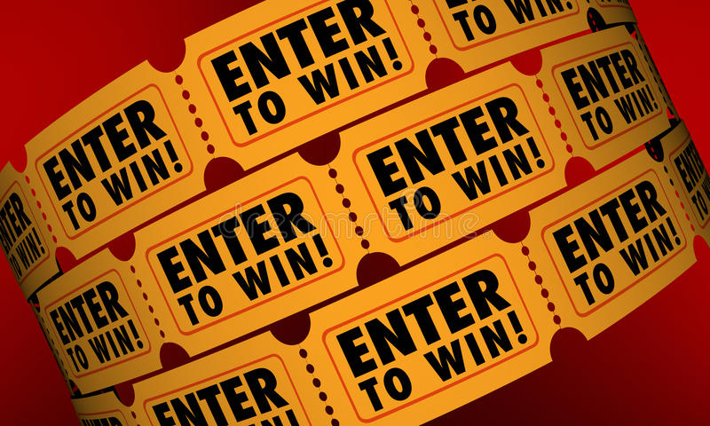 Enter to Win Tickets Contest Raffle Drawing Lottery Chance stock illustration