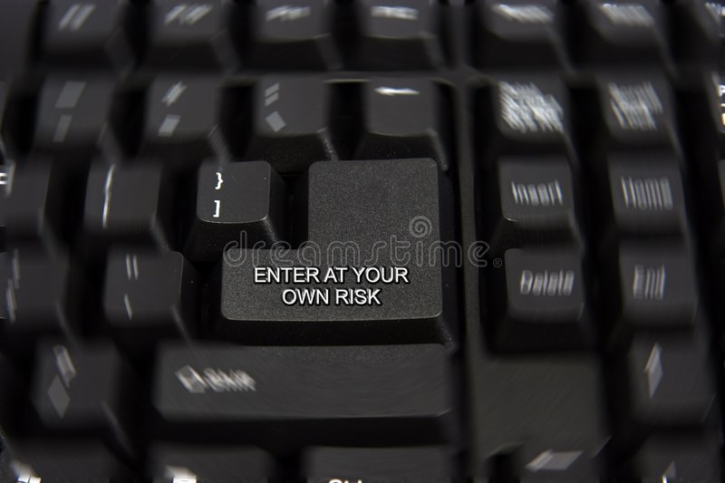 Download Enter at your own risk key stock image. Image of technology - 3984227